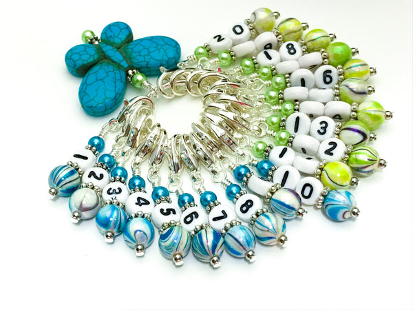 1-20 Numbered Stitch Marker Set with Blue Butterfly Holder