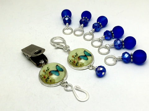 Cobalt Blue Butterfly Portuguese Knitting Pin & Stitch Marker Set , Portugese Knitting Pin - Jill's Beaded Knit Bits, Jill's Beaded Knit Bits  - 7