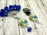 Cobalt Blue Butterfly Portuguese Knitting Pin & Stitch Marker Set , Portugese Knitting Pin - Jill's Beaded Knit Bits, Jill's Beaded Knit Bits  - 10