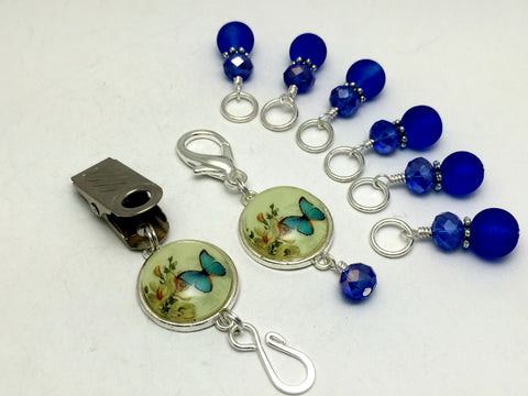 Cobalt Blue Butterfly Portuguese Knitting Pin & Stitch Marker Set , Portugese Knitting Pin - Jill's Beaded Knit Bits, Jill's Beaded Knit Bits  - 4