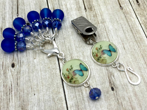 Cobalt Blue Butterfly Portuguese Knitting Pin & Stitch Marker Set , Portugese Knitting Pin - Jill's Beaded Knit Bits, Jill's Beaded Knit Bits  - 6