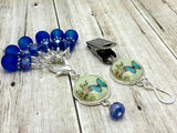 Cobalt Blue Butterfly Portuguese Knitting Pin & Stitch Marker Set , Portugese Knitting Pin - Jill's Beaded Knit Bits, Jill's Beaded Knit Bits  - 3