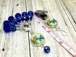 Cobalt Blue Butterfly Portuguese Knitting Pin & Stitch Marker Set , Portugese Knitting Pin - Jill's Beaded Knit Bits, Jill's Beaded Knit Bits  - 9