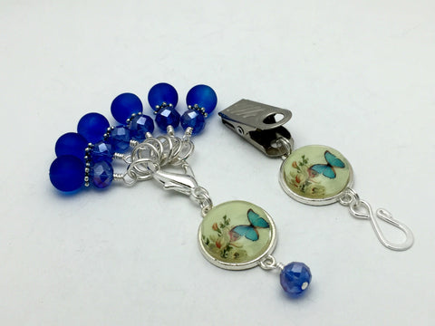Cobalt Blue Butterfly Portuguese Knitting Pin & Stitch Marker Set , Portugese Knitting Pin - Jill's Beaded Knit Bits, Jill's Beaded Knit Bits  - 5
