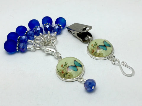 Cobalt Blue Butterfly Portuguese Knitting Pin & Stitch Marker Set