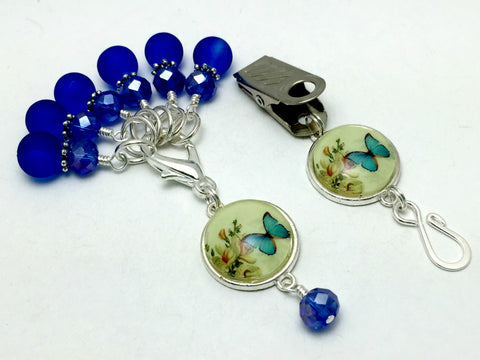 Cobalt Blue Butterfly Portuguese Knitting Pin & Stitch Marker Set , Portugese Knitting Pin - Jill's Beaded Knit Bits, Jill's Beaded Knit Bits  - 8
