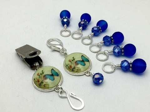Cobalt Blue Butterfly Portuguese Knitting Pin & Stitch Marker Set , Portugese Knitting Pin - Jill's Beaded Knit Bits, Jill's Beaded Knit Bits  - 2