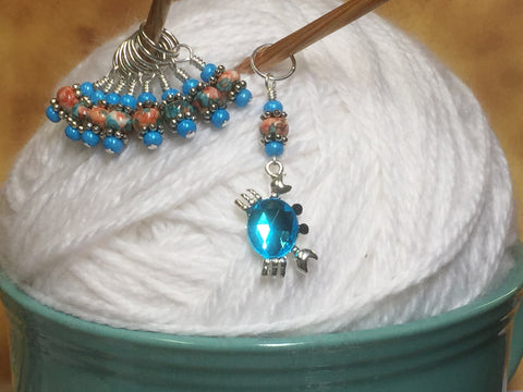 Blue Crab Stitch Marker Set , Stitch Markers - Jill's Beaded Knit Bits, Jill's Beaded Knit Bits  - 2
