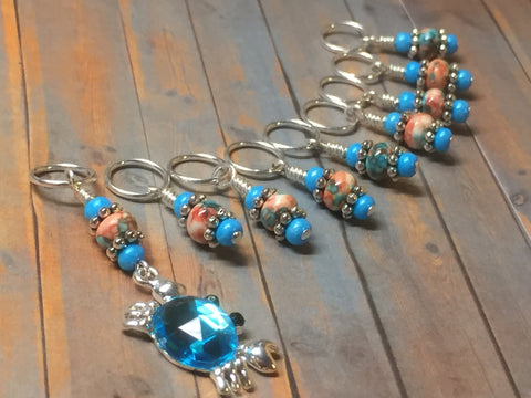 Blue Crab Stitch Marker Set , Stitch Markers - Jill's Beaded Knit Bits, Jill's Beaded Knit Bits  - 5