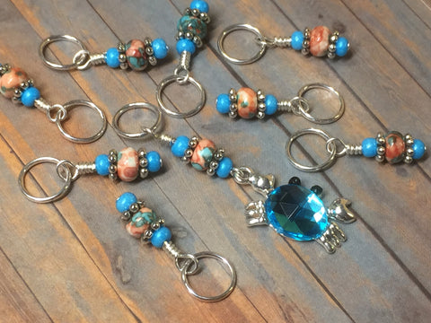 Blue Crab Stitch Marker Set , Stitch Markers - Jill's Beaded Knit Bits, Jill's Beaded Knit Bits  - 6