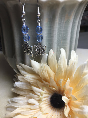 Blue Crystal Butterfly Dangle Earrings , jewelry - Jill's Beaded Knit Bits, Jill's Beaded Knit Bits  - 4