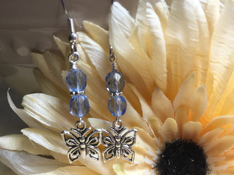 Blue Crystal Butterfly Dangle Earrings , jewelry - Jill's Beaded Knit Bits, Jill's Beaded Knit Bits  - 2