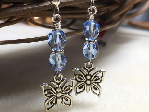 Blue Crystal Butterfly Dangle Earrings , jewelry - Jill's Beaded Knit Bits, Jill's Beaded Knit Bits  - 1