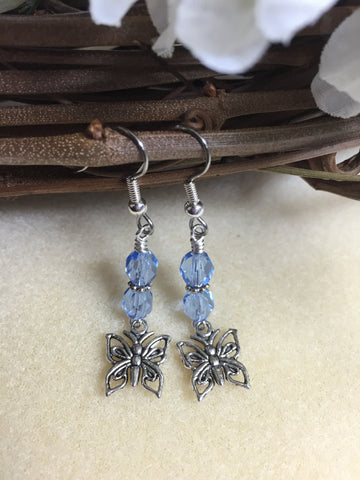 Blue Crystal Butterfly Dangle Earrings , jewelry - Jill's Beaded Knit Bits, Jill's Beaded Knit Bits  - 6