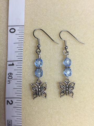 Blue Crystal Butterfly Dangle Earrings , jewelry - Jill's Beaded Knit Bits, Jill's Beaded Knit Bits  - 7