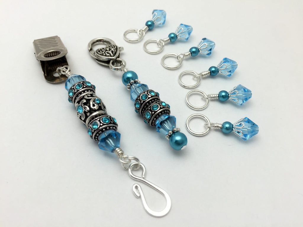 Blue Crystal Portuguese Knitting Pin & Stitch Marker Gift Set , Portugese Knitting Pin - Jill's Beaded Knit Bits, Jill's Beaded Knit Bits  - 1