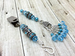 Blue Crystal Portuguese Knitting Pin & Stitch Marker Gift Set , Portugese Knitting Pin - Jill's Beaded Knit Bits, Jill's Beaded Knit Bits  - 2