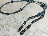 Blue Eyeglass Necklace-Beaded Lanyard , Jewelry - Jill's Beaded Knit Bits, Jill's Beaded Knit Bits  - 9