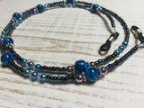 Blue Eyeglass Necklace-Beaded Lanyard , Jewelry - Jill's Beaded Knit Bits, Jill's Beaded Knit Bits  - 1