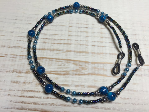 Blue Eyeglass Necklace-Beaded Lanyard , Jewelry - Jill's Beaded Knit Bits, Jill's Beaded Knit Bits  - 3