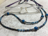 Blue Eyeglass Necklace-Beaded Lanyard , Jewelry - Jill's Beaded Knit Bits, Jill's Beaded Knit Bits  - 4