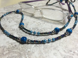 Blue Eyeglass Necklace-Beaded Lanyard , Jewelry - Jill's Beaded Knit Bits, Jill's Beaded Knit Bits  - 2