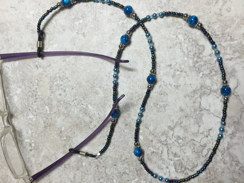 Blue Eyeglass Necklace-Beaded Lanyard , Jewelry - Jill's Beaded Knit Bits, Jill's Beaded Knit Bits  - 5
