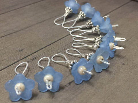 Blue Flowers Wire Loop Stitch Markers , Stitch Markers - Jill's Beaded Knit Bits, Jill's Beaded Knit Bits  - 1