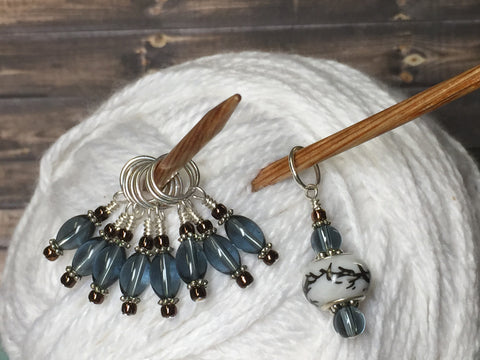 Glass Dione Bead Stitch Marker Set- Blue/Gray , Stitch Markers - Jill's Beaded Knit Bits, Jill's Beaded Knit Bits  - 6