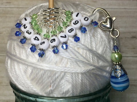 Numbered Stitch Markers with Beaded Holder- Blue Green