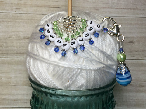 Numbered Stitch Markers with Beaded Holder- Blue Green , Stitch Markers - Jill's Beaded Knit Bits, Jill's Beaded Knit Bits  - 5