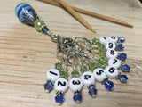 Numbered Stitch Markers with Beaded Holder- Blue Green , Stitch Markers - Jill's Beaded Knit Bits, Jill's Beaded Knit Bits  - 3