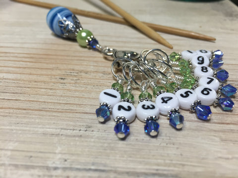 Numbered Stitch Markers with Beaded Holder- Blue Green , Stitch Markers - Jill's Beaded Knit Bits, Jill's Beaded Knit Bits  - 9