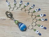Numbered Stitch Markers with Beaded Holder- Blue Green , Stitch Markers - Jill's Beaded Knit Bits, Jill's Beaded Knit Bits  - 2