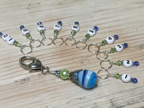 Numbered Stitch Markers with Beaded Holder- Blue Green , Stitch Markers - Jill's Beaded Knit Bits, Jill's Beaded Knit Bits  - 8
