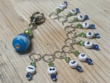 Numbered Stitch Markers with Beaded Holder- Blue Green , Stitch Markers - Jill's Beaded Knit Bits, Jill's Beaded Knit Bits  - 4