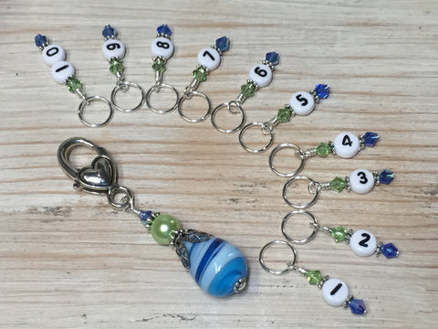 Numbered Stitch Markers with Beaded Holder- Blue Green , Stitch Markers - Jill's Beaded Knit Bits, Jill's Beaded Knit Bits  - 6