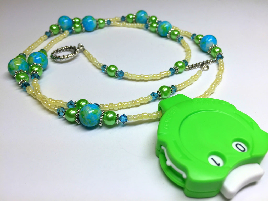 Blue Green Beaded Row Counter Jewelry for Knitting or Crochet , jewelry - Jill's Beaded Knit Bits, Jill's Beaded Knit Bits  - 1