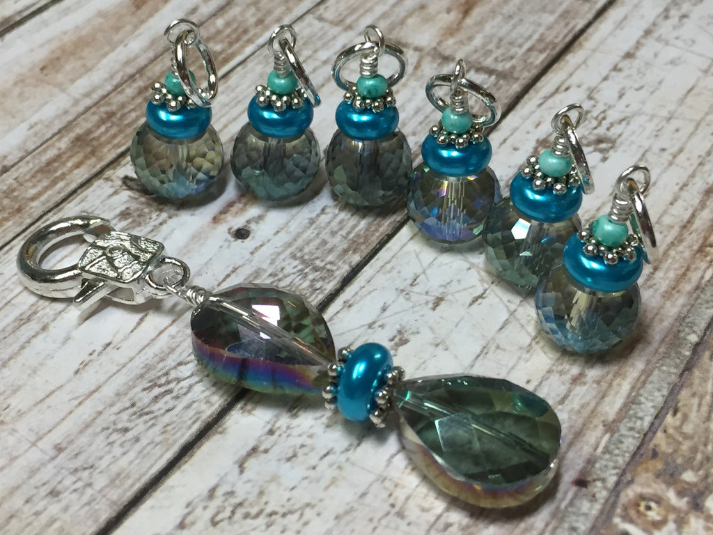 Crystal Knitting Stitch Markers with Holder , Stitch Markers - Jill's Beaded Knit Bits, Jill's Beaded Knit Bits  - 1