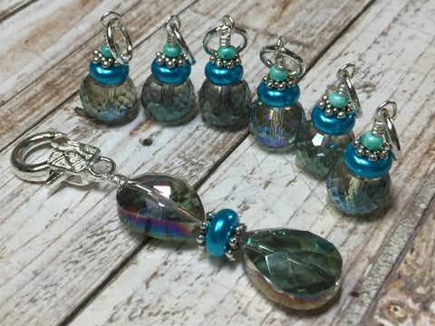 Crystal Knitting Stitch Markers with Holder