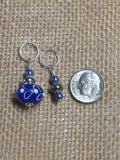 Blue Lamp Work Stitch Marker Set , Stitch Markers - Jill's Beaded Knit Bits, Jill's Beaded Knit Bits  - 5