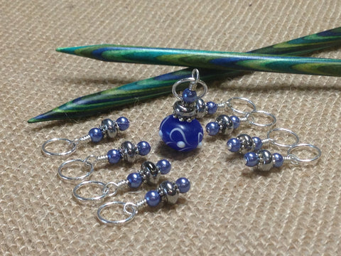 Blue Lamp Work Stitch Marker Set , Stitch Markers - Jill's Beaded Knit Bits, Jill's Beaded Knit Bits  - 1