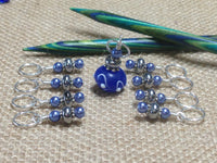 Blue Lamp Work Stitch Marker Set , Stitch Markers - Jill's Beaded Knit Bits, Jill's Beaded Knit Bits  - 2