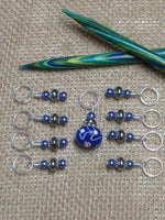 Blue Lamp Work Stitch Marker Set , Stitch Markers - Jill's Beaded Knit Bits, Jill's Beaded Knit Bits  - 3