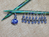 Blue Lamp Work Stitch Marker Set , Stitch Markers - Jill's Beaded Knit Bits, Jill's Beaded Knit Bits  - 4