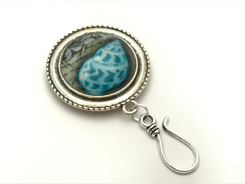 Blue Seashell MAGNETIC Portuguese Knitting Pin- ID Badge Holder- Gift for Knitters