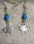 Sheep Dangle Earrings , Jewelry - Jill's Beaded Knit Bits, Jill's Beaded Knit Bits  - 2