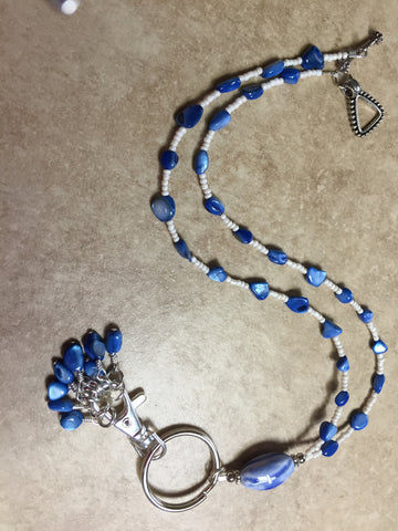 Blue Shell Stitch Marker Necklace , jewelry - Jill's Beaded Knit Bits, Jill's Beaded Knit Bits  - 4