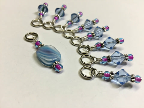 Blue Cloud Knitting Stitch Marker Set , Stitch Markers - Jill's Beaded Knit Bits, Jill's Beaded Knit Bits  - 8