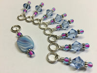 Blue Cloud Knitting Stitch Marker Set , Stitch Markers - Jill's Beaded Knit Bits, Jill's Beaded Knit Bits  - 1